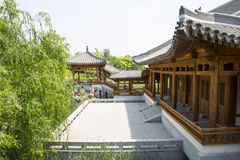 Asia Chinese, Beijing, Yu Garden,Classical garden architecture,Wooden pavilion, promenade Royalty Free Stock Image