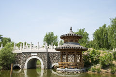 Asia Chinese, Beijing, Yu Garden,Classical garden architecture,Wooden pavilion, stone bridge Stock Image