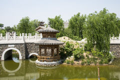 Asia Chinese, Beijing, Yu Garden,Classical garden architecture,Wooden pavilion, stone bridge Royalty Free Stock Images