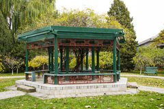 Asia Chinese, Beijing, Zhongshan Park,wooden pavilion Royalty Free Stock Photography