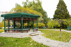 Asia Chinese, Beijing, Zhongshan Park,wooden pavilion Stock Images
