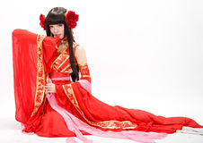 Free Asia Chinese Style Girl In Red Traditional Dress Dancer Stock Photo - 34992660