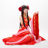 Asia  Chinese style  girl in red  traditional dress dancer Stock Image