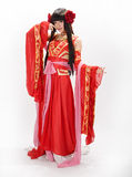 Asia  Chinese style  girl in red  traditional dress dancer Royalty Free Stock Images