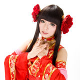 Asia  Chinese style  girl in red  traditional dress dancer Royalty Free Stock Image