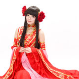 Asia  Chinese style  girl in red  traditional dress dancer Stock Images
