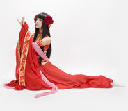 Asia  Chinese style  girl in red  traditional dress dancer Royalty Free Stock Photography