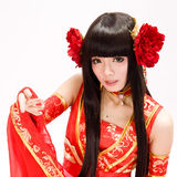 Asia  Chinese style  girl in red  traditional dress dancer closeup Stock Images