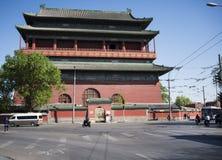 Asia, chino, Pekín, edificio antiguo, la torre del tambor Imágenes de archivo libres de regalías