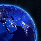 Asia city lights from space Stock Image