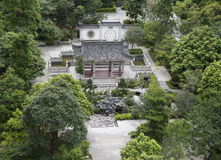 Gazebo pavilion in Chinese garden park. Top view of Classic Asian Chinese garden landscaping. Oriental scenery park with courtyard trees, pavilion, gazebo in Stock Photo