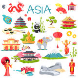 Asia Collection of Symbolic Elements on White. Vector illustration of Great wall of China, oriental man and woman, grey elephant, special buildings, panda in stock illustration