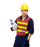 Asia construction worker with layout drawing Stock Image