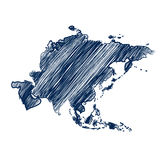 Asia continent. Map hand drawn background vector Stock Photography