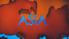 Asia Continent On World Map. For Science Geographic Study Tool stock photography