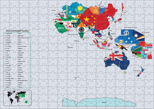 Asia Continental country flags and map Puzzle Royalty Free Stock Photos