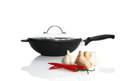 Asia cooking ingredient with a wok Royalty Free Stock Photos