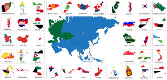 Asia Countries Flag Maps Stock Images