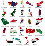 Asia countries flag maps Part 2. Asia countries From M to Y  flag maps on a white background Stock Photo