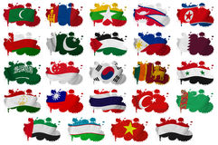 Asia countries flag blots Part 2. Asia countries (From M to Y) flag blots on a white background Royalty Free Stock Photos