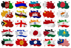 Asia countries flag blots Part 1. Asia countries (From A to M) flag blots on a white background Stock Image