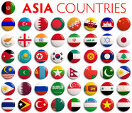 Asia country flags Royalty Free Stock Images