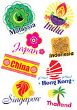 Asia country travel icon set. Asia different country travel icon illustration style Stock Image