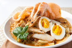 Asia cuisine lontong ketupat rice cake. Traditional food from indonesia, lontong sayur. rice cake, vegetables and shrimp with coconut milk soup Stock Image