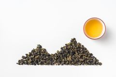 Fresh taiwan oolong tea bud layout like mountain royalty free stock photo