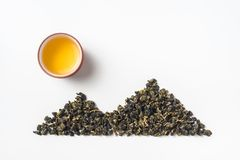 Fresh taiwan oolong tea bud layout like mountain stock photography