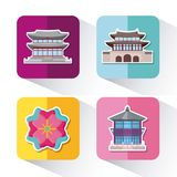 Asia culture design. Icon set of asia culture concept over colorful squares and white background, vector illustration Royalty Free Stock Photos