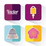 Asia culture design. Icon set of asia culture concept over colorful squares and white background, vector illustration Royalty Free Stock Image