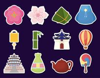 Asia culture design. Icon set of asia culture concept over background, colorful design. vector illustration Royalty Free Stock Images