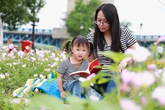 Asia cute laugh lovely adorable girl read book with mother enjoy free day with mom tell story outdoor in summer park happy smile royalty free stock photos