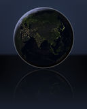 Asia in the dark. Asia at night on globe with visible city lights. 3D illustration. Elements of this image furnished by NASA Stock Image