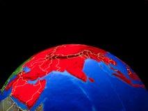 Asia del espacio en la tierra ilustración del vector