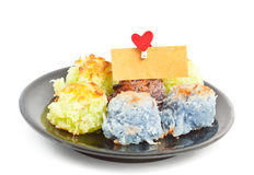 Asia dessert with card bank paper and hearts on the clothesline Royalty Free Stock Images