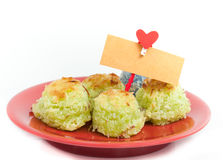 Asia dessert with card bank paper and hearts on the clothesline Royalty Free Stock Photos