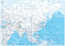 Asia detailed map Royalty Free Stock Image