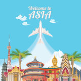 Asia detailed poster with airplane. Royalty Free Stock Photos
