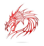Asia dragon and flames sign red color. Isolated Stock Illustration