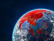 Asia on Earth with borders. Asia on realistic model of planet Earth with country borders and very detailed planet surface and clouds. 3D illustration. Elements stock photo