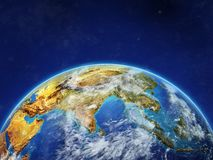 Asia on Earth with borders. Asia on planet planet Earth with country borders. Extremely detailed planet surface and clouds. 3D illustration. Elements of this vector illustration