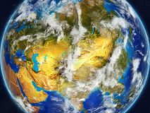 Asia on Earth with borders. Asia on realistic model of planet Earth with country borders and very detailed planet surface and clouds. 3D illustration. Elements royalty free illustration