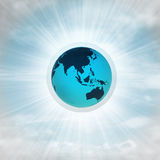 Asia earth globe in glossy bubble in the air with flare. Illustration Royalty Free Stock Photography