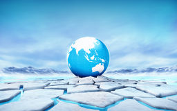 Asia earth globe in the middle of ice floe cracked hole. Seasonal winter landscape digital illustration Stock Photography