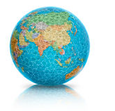 Asia earth globe puzzle illustration isolated. Earth globe puzzle illustration showing Asia isolated on white, reflected Royalty Free Stock Photography