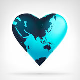 Asia earth globe shaped as heart at modern graphic design. Isolated vector illustration on white background Royalty Free Stock Image