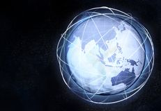 Asia earth globe view with travel network Stock Photography