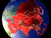 Asia on Earth at night. Asia from space on Earth at night. Very fine detail of the plastic planet surface with bright city lights. 3D illustration. Elements of royalty free stock photo